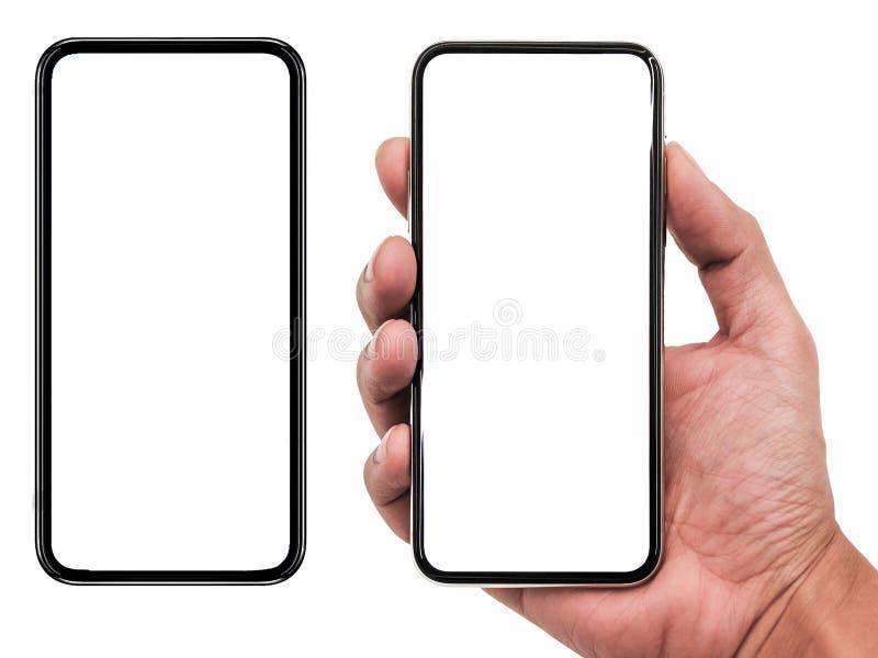 Smartphone som är liknande till iphonexs som är maximal med den tomma vita skärmen för planet för marknadsföring Infographic för  royaltyfri foto