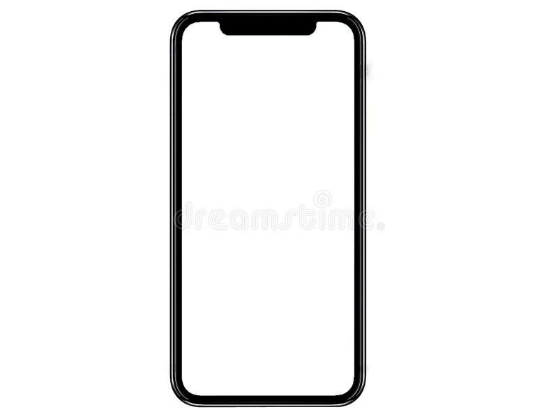 Smartphone som är liknande till iphonexs som är maximal med den tomma vita skärmen för planet för marknadsföring Infographic för  royaltyfria foton