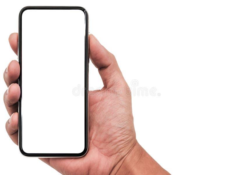 Smartphone som är liknande till iphonexs som är maximal med den tomma vita skärmen för planet för marknadsföring Infographic för  fotografering för bildbyråer