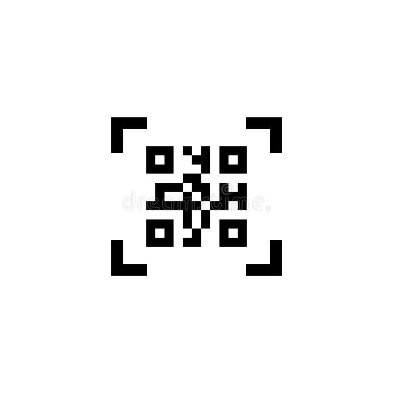 Smartphone som avläser symbolen för vektor för QR-kodlägenhet royaltyfri illustrationer