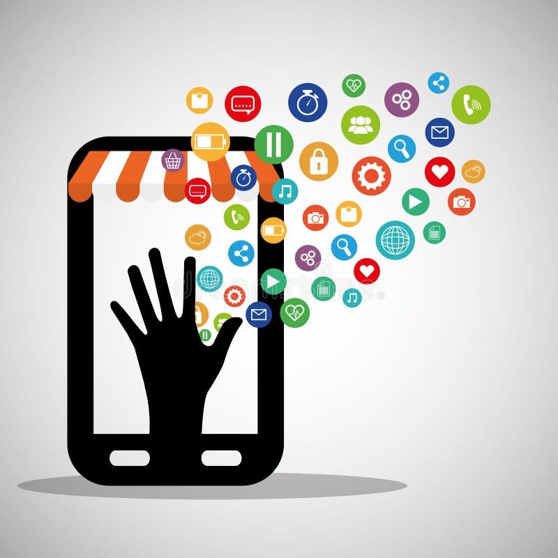 Smartphone som shoppar faktisk wearable teknologi stock illustrationer