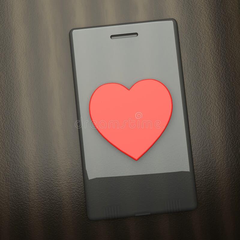 Smartphone sopra la tavola con grande cuore rosso nel mezzo illustrazione di stock