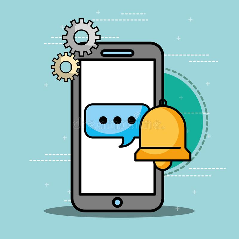 Smartphone speech bubble bell customer service. Vector illustration royalty free illustration
