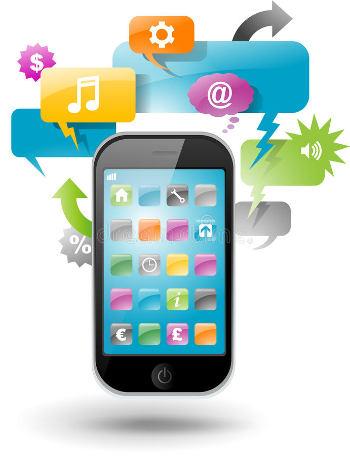 Download Smartphone With Speech Bubbles Stock Vector - Image: 24567547
