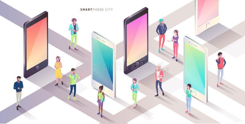 Smartphone-stad Isometrisch Concept vector illustratie