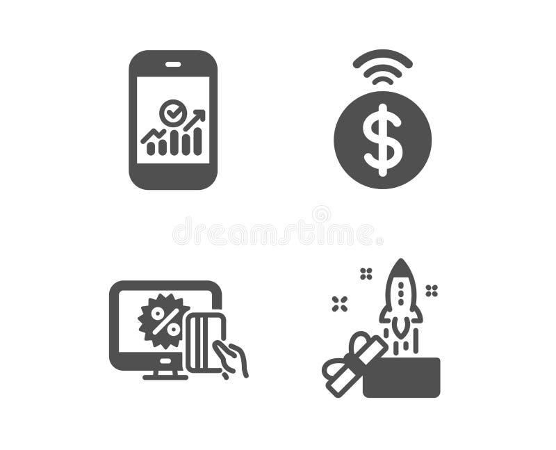 Smartphone statystyki, Online zakupy i Contactless płatnicze ikony, Innowacja znak wektor ilustracja wektor