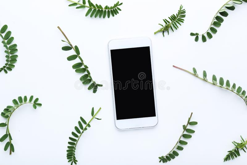 Smartphone and green leafs royalty free stock photo