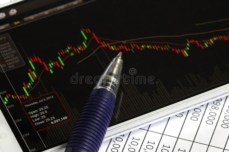 Smartphone and stock chart, investment. Smartphone and stock chart investment trading background royalty free stock photo