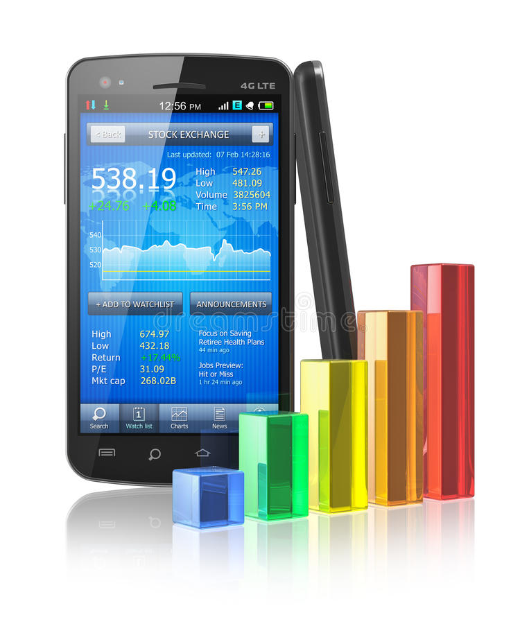 Smartphone With Stock Market Application Royalty Free Stock Photo