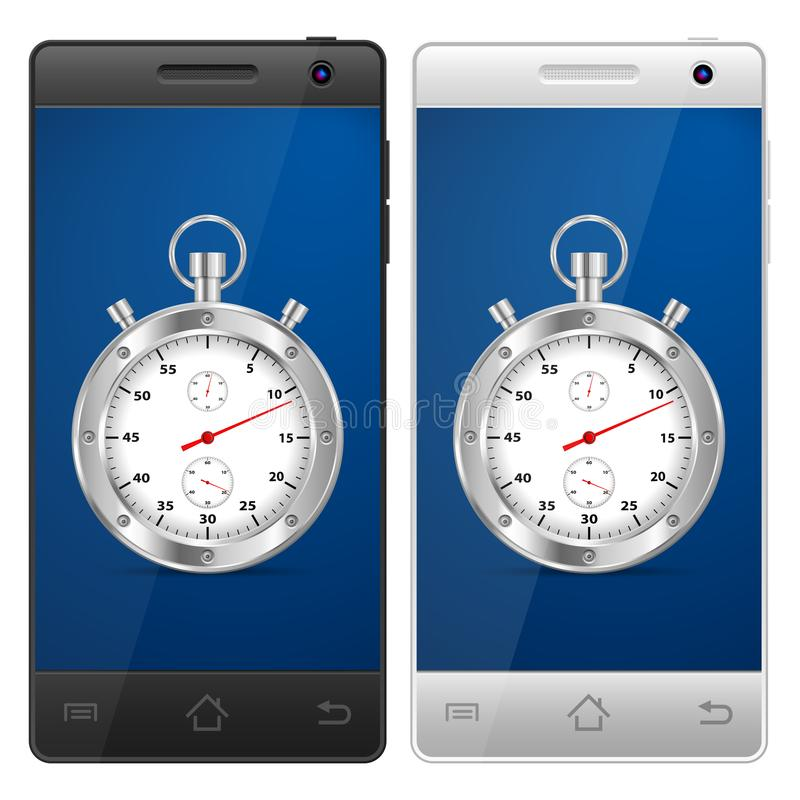 Smartphone stopwatch royalty free illustration
