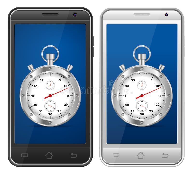Smartphone stopwatch vector illustration