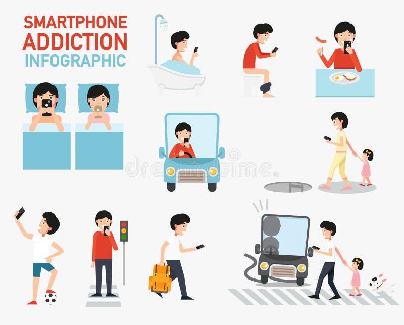 Smartphone-Sucht infographic Vektor lizenzfreie abbildung
