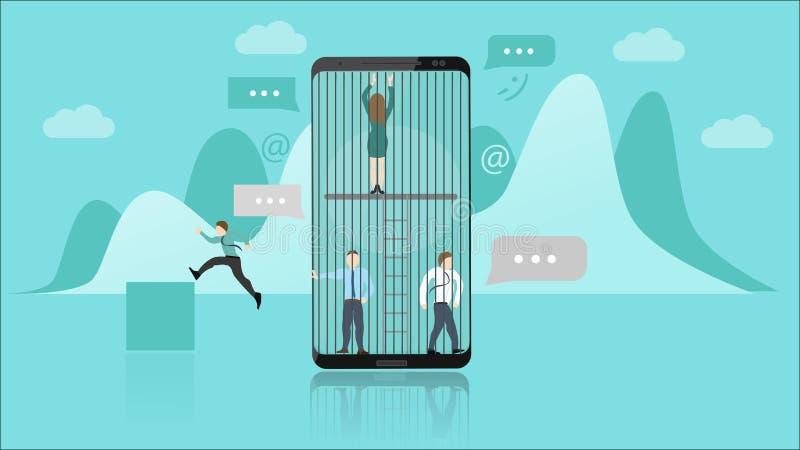 Smartphone-Suchtkonzept Die Leute, die innerhalb Smartphones eingeschlossen werden, stellen die Sucht dar Sie kippen Entweichen f lizenzfreie abbildung