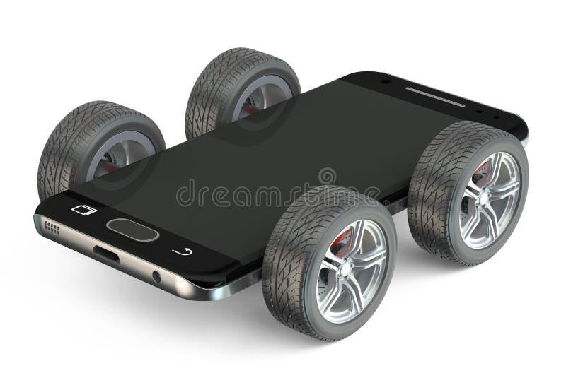 Smartphone sur des roues illustration libre de droits
