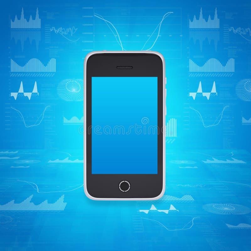 Smartphone sur le fond des graphiques et des chiffres illustration de vecteur