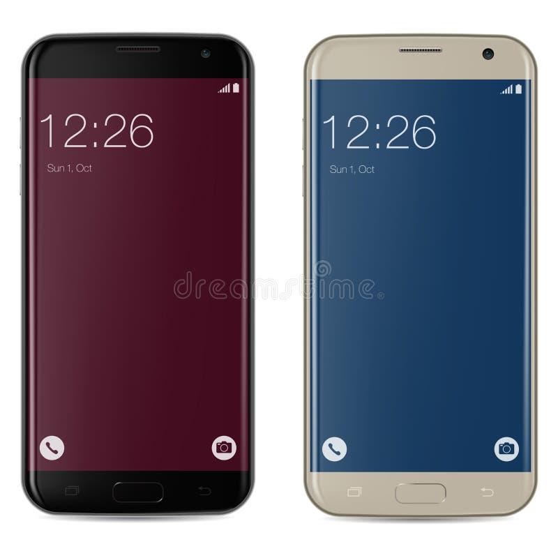 Smartphone svart och guld med den röda och blåa låsta startskärmen royaltyfri illustrationer