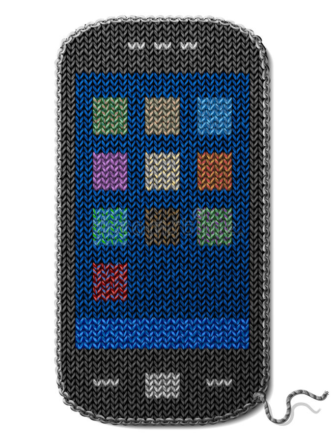 Smartphone symbol of knitted fabric isolated on wh royalty free illustration