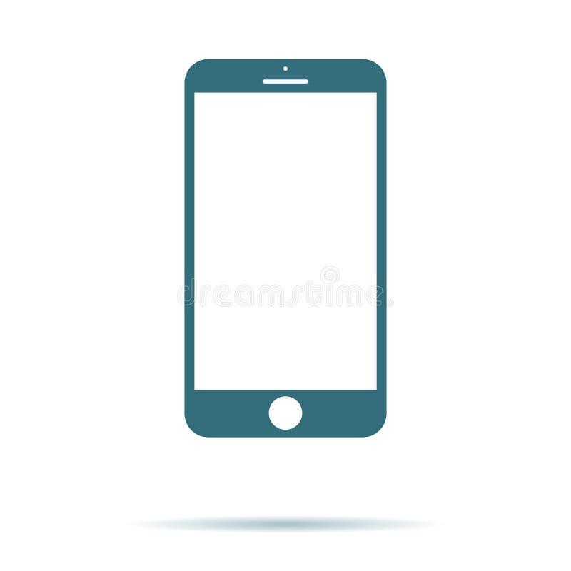Smartphone symbol med den isolerade tomma skärmen Modernt enkelt plant telefontecken för färgbegrepp för bakgrund blåa internet T royaltyfri illustrationer