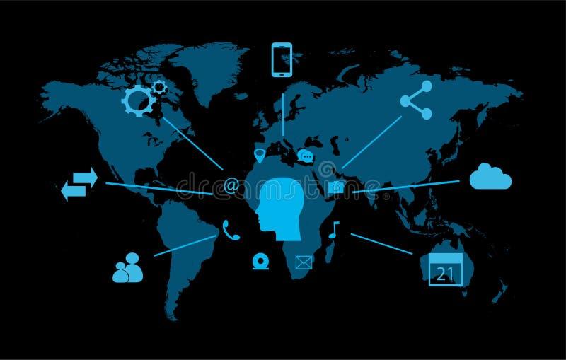 Smartphone symbol med socialt massmedia stock illustrationer