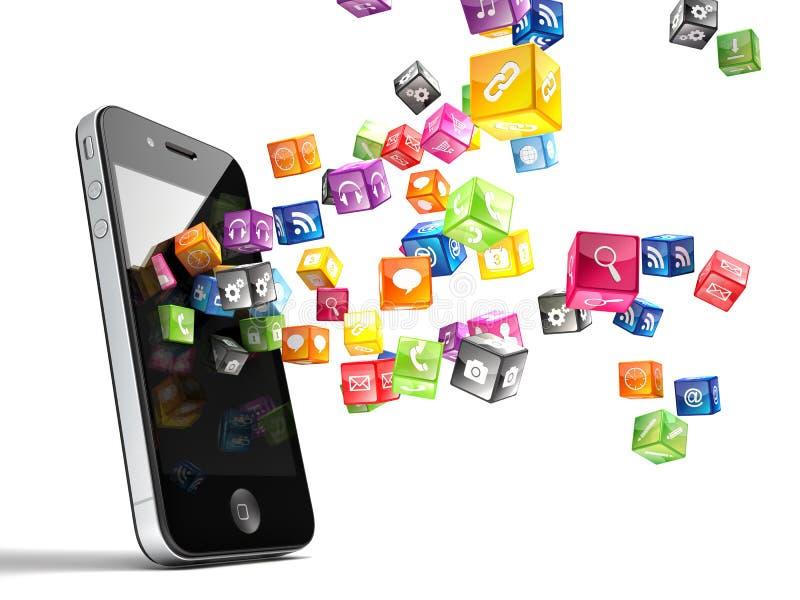 Smartphone symboler royaltyfri illustrationer