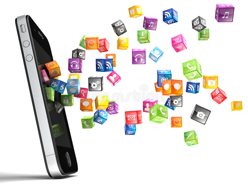 Smartphone symboler stock illustrationer