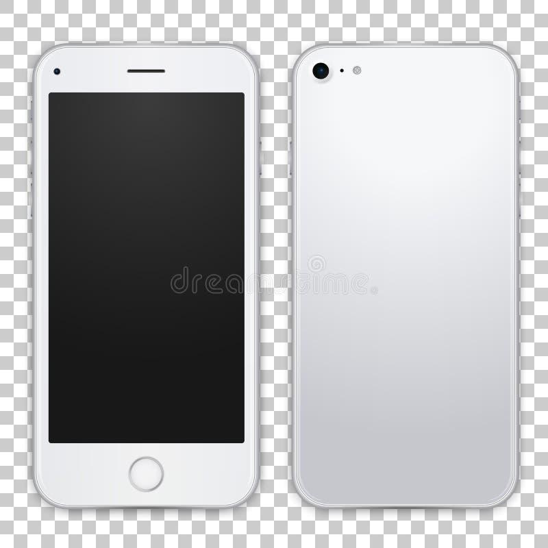 Smartphone szablonu frontowy i czarny widok, wektorowa realistyczna ilustracja Szczegółowy ilość telefonu komórkowego egzamin pró ilustracja wektor