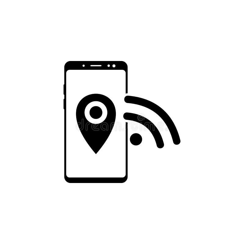 smartphone, szpilka, wifi wektorowa ikona dla stron internetowych i mobilny minimalistic płaski projekt, ilustracji
