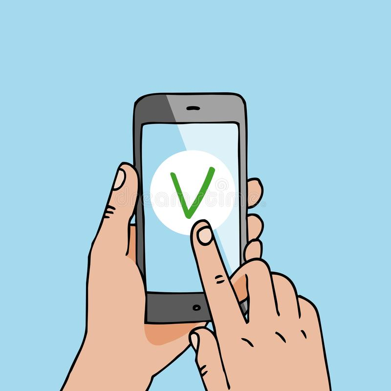 Smartphone sztandaru wektoru płatnicza ilustracja R?ki trzyma telefon kom?rkowego Szybki przelew pieniędzy Biznesowy nabywać e ilustracja wektor