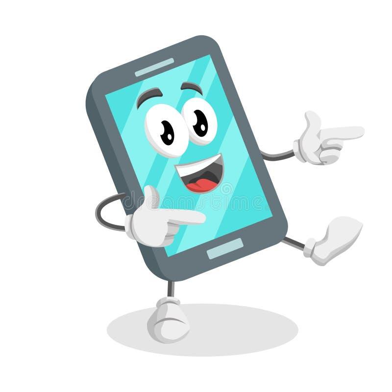 Smartphone tła i maskotki poza Cześć ilustracja wektor