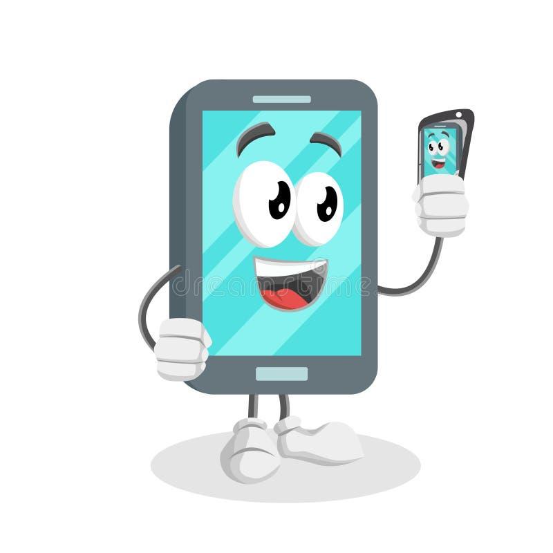 Smartphone tło z selfie pozą i maskotka ilustracji