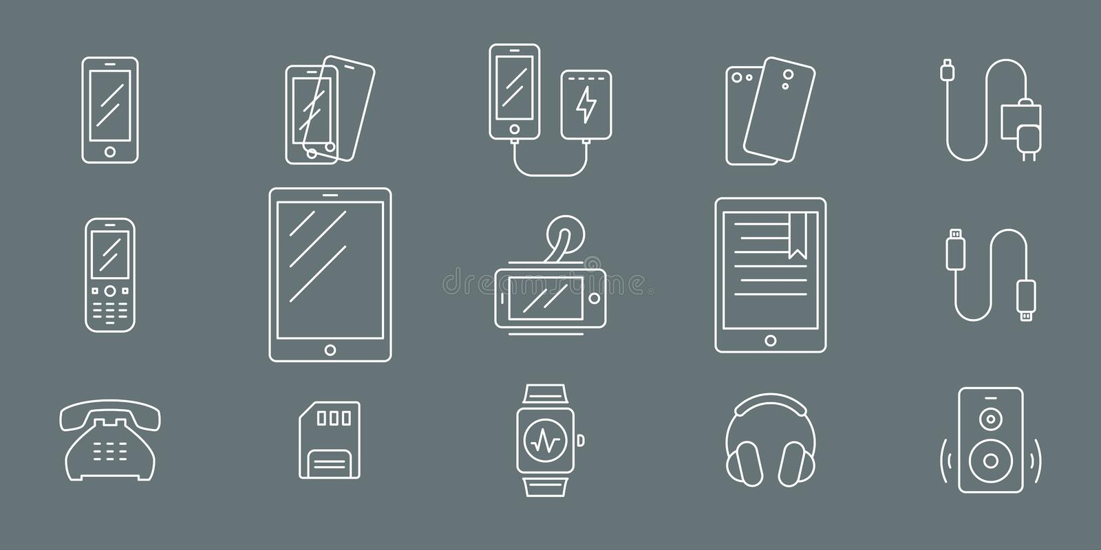 Smartphone and accessories Icons 01 vector illustration