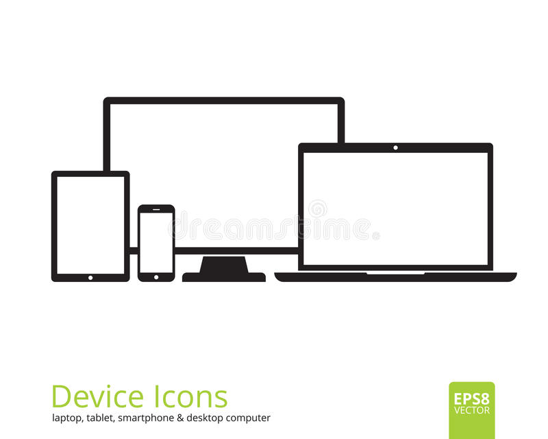 Smartphone, Tablet, Laptop and Desktop Computer Icons royalty free illustration