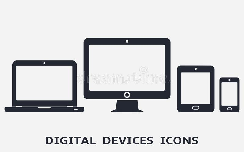 Smartphone, tablet, laptop and desktop computer icons. Vector illustration of responsive web design stock images
