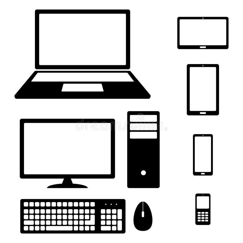 Smartphone, tableta, ordenador portátil, equipo de escritorio, teléfono, teclado y ratón de los iconos del dispositivo stock de ilustración