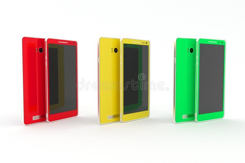 Smartphone, tableta Rojo, amarillo, verde Fondo blanco fotografía de archivo libre de regalías