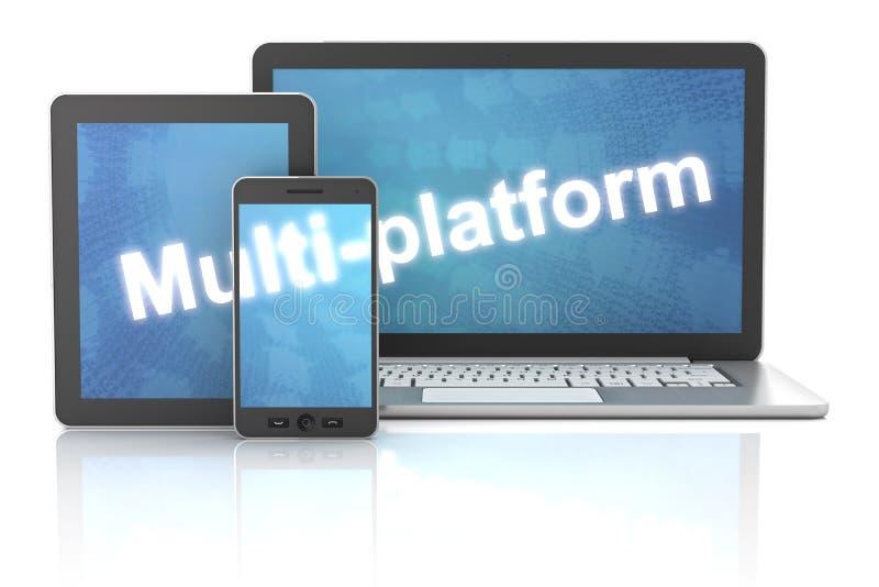 Smartphone, tableta y ordenador portátil con la multi-plataforma ilustración del vector