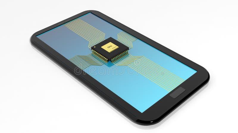 Smartphone/Tablette avec la puce d'unité centrale de traitement illustration stock