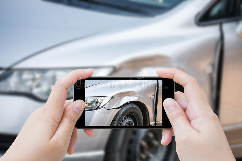 Smartphone take photo car crash accident royalty free stock images