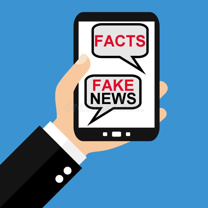 Smartphone: Tatsachen oder Fälschungs-Nachrichten - flaches Design stock abbildung