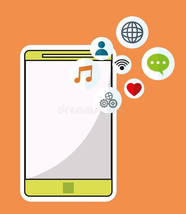Smartphone technologii bezprzewodowej komunikacyjny ogólnospołeczny medialny pomarańczowy tło royalty ilustracja