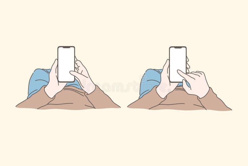 Smartphone, technology, social media, beroende, konceptet för kommunikationsuppsättning stock illustrationer