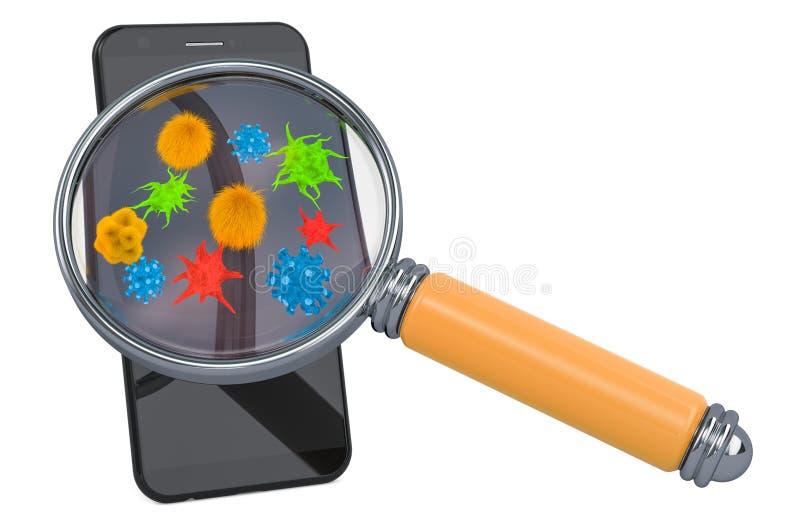 Smartphone, teléfono móvil con los virus y los bacterias debajo de la lupa representaci?n 3d libre illustration