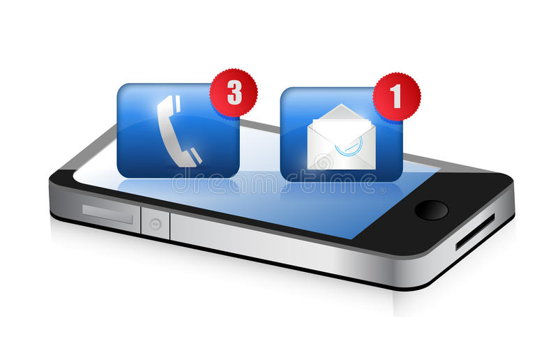 Smartphone, telefono ed email. Concetto di comunicazione royalty illustrazione gratis