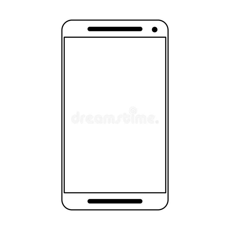 Smartphone telefonu komórkowego technologia odizolowywająca w czarny i biały ilustracja wektor