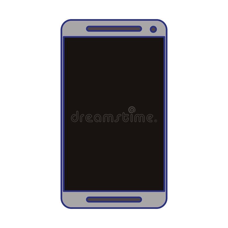 Smartphone telefonu komórkowego technologii odosobnione niebieskie linie ilustracja wektor