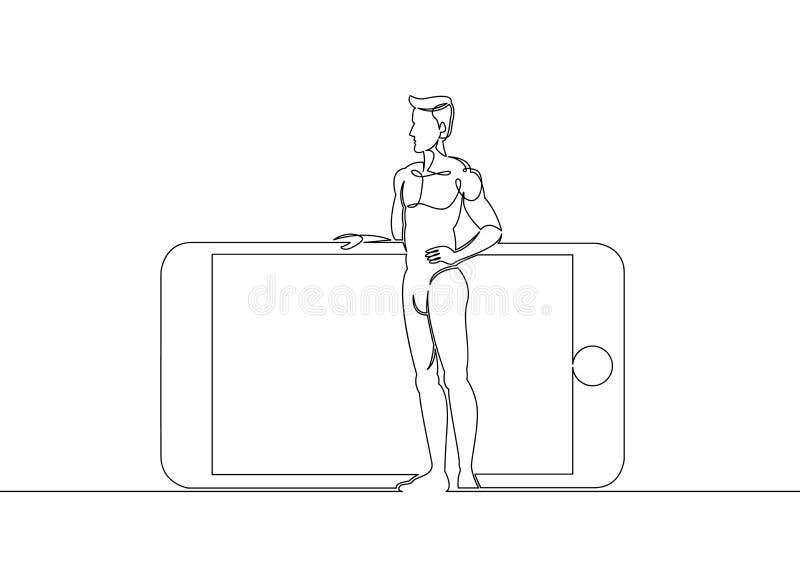 Smartphone, telefoon, man, persoon, illustratie, reus, mobiel, apparaat, concept royalty-vrije illustratie