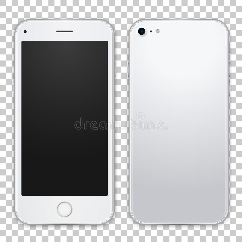 Smartphone template front and black view, vector realistic illustration. Detailed quality mobile phone mock up. vector illustration