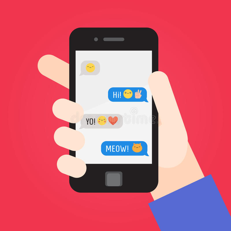 Smartphone ter beschikking Berichten met emoji Deel Twee stock illustratie