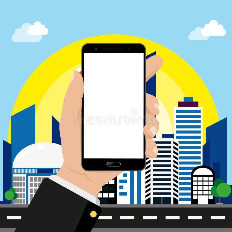 Smartphone ter beschikking op cityscape achtergrond vector illustratie