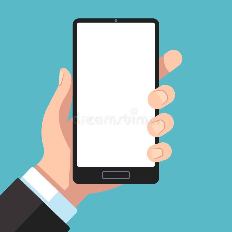 Smartphone ter beschikking Zakenmanhand die mobiele telefoon houden Celtelefoon in wapenmalplaatje voor app presentatie vlakke ve stock illustratie